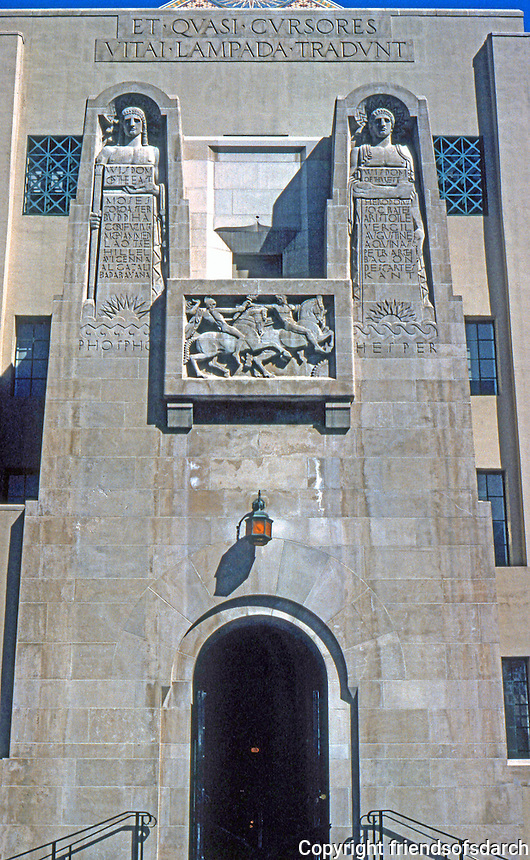 "Los Angeles: L. A. Public Library, Western Entrance. Sculpture by Lee Lawrie. (Sculpture here said that Lawrie, who also collaborated with Goodhue on the Nebraska Capitol is ""grafted"" to architecture.) Photo '96."