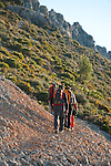 Hikers on Sierra de Bernia, Alicante province, Costa Blanca, Spain, Europe