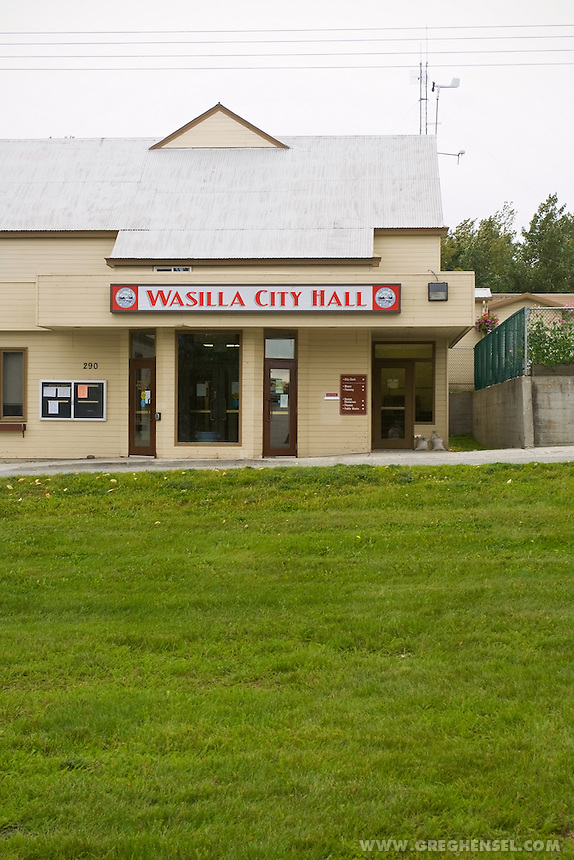 Wasilla City Hall located in Wasilla, Alaska. Sarah Palin served as Mayor here before becoming Governor of the State of Alaska. Palin is the 2008 Republican nominee for Vice President.