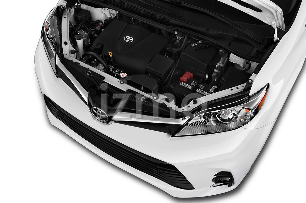 Car stock 2020 Toyota Sienna XLE 5 Door Mini Van engine high angle detail view