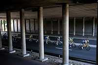 Ludwig De Winter (BEL/Wanty Gobert) leading the chase in the peloton under the bridge.<br /> <br /> <br /> 94th Schaal Sels 2019<br /> One Day Race: Merksem  >  Merksem  (UCI 1.1)<br /> ©kramon