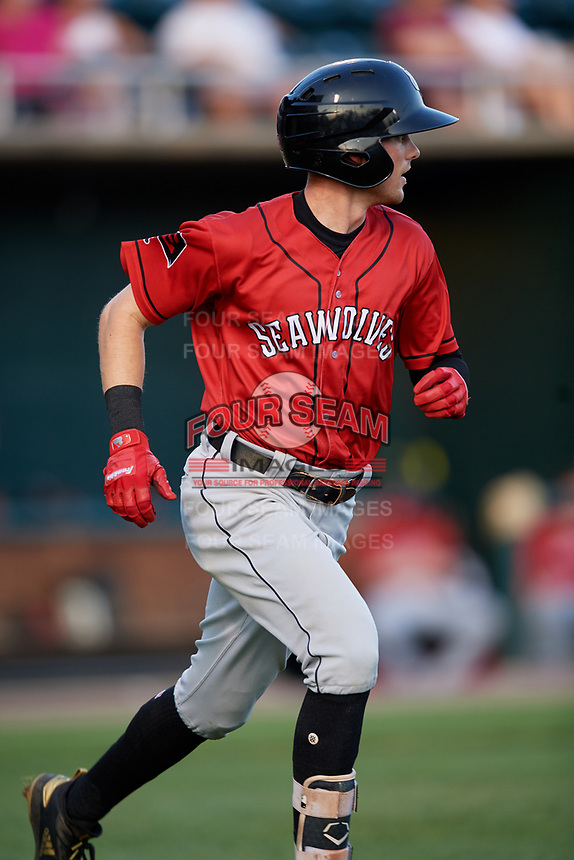 Erie SeaWolves center fielder Danny Woodrow (10) runs to first base during a game against the Harrisburg Senators on August 29, 2018 at FNB Field in Harrisburg, Pennsylvania.  Harrisburg defeated Erie 5-4.  (Mike Janes/Four Seam Images)