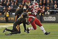 NWA Media/Michael Woods --11/28/2014-- w @NWAMICHAELW...University of Arkansas running back Kody Walker is pushed out of bounds on a failed 4th down conversion attempt in the 3rd quarter of Friday afternoons game against Missouri at Faurot Field in Columbia Missouri.