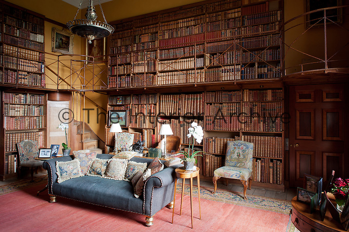 The 19th century small library. Standing by the writing table is Napoleon's campaign chair, given by the Duke of Wellington to the 4th duke and dutchess as a thankyou for a ball the dutchess hosted in Brussels just a few days before the Battle of Waterloo