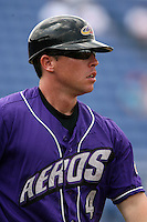 July 7th 2008:  Coach Shaun Larkin of the Akron Aeros, Class-AA affiliate of the Cleveland Indians, during a game at NYSEG Stadium in Binghamton, NY.  Photo by:  Mike Janes/Four Seam Images