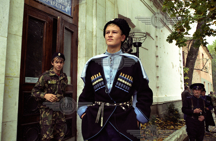 A newly elected Terek Cossack stands proudly, having just been elected by 200 of his comrades of the Terek Cossack Army.