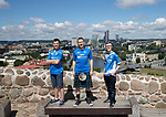 FK Trakai v St Johnstone…05.07.17… Europa League 1st Qualifying Round 2nd Leg<br />Saints fans in Vilnius ahead of kick off, from left, Callum Hunter, Alan Brown and Craig Bathgate from Falkirk and Kirkcaldy<br />Picture by Graeme Hart.<br />Copyright Perthshire Picture Agency<br />Tel: 01738 623350  Mobile: 07990 594431