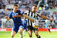 Jacob Murphy of Newcastle United battles with César Azpilicueta of Chelsea during Newcastle United vs Chelsea, Premier League Football at St. James' Park on 13th May 2018