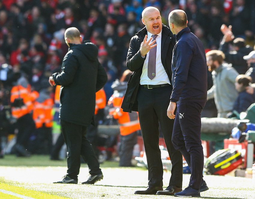 Burnley manager Sean Dyche reacts after his side conceded a fourth<br /> <br /> Photographer Alex Dodd/CameraSport<br /> <br /> The Premier League - Liverpool v Burnley - Sunday 10th March 2019 - Anfield - Liverpool<br /> <br /> World Copyright © 2019 CameraSport. All rights reserved. 43 Linden Ave. Countesthorpe. Leicester. England. LE8 5PG - Tel: +44 (0) 116 277 4147 - admin@camerasport.com - www.camerasport.com