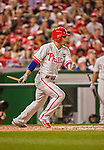 22 May 2015: Philadelphia Phillies infielder Cesar Hernandez holds the remains of a broken bat, as he flies out in the 8th inning against the Washington Nationals at Nationals Park in Washington, DC. The Nationals defeated the Phillies 2-1 in the first game of their 3-game weekend series. Mandatory Credit: Ed Wolfstein Photo *** RAW (NEF) Image File Available ***