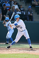 Will McInerny (15) of the UCLA Bruins bats against the Arizona Wildcats at Jackie Robinson Stadium on March 19, 2017 in Los Angeles, California. UCLA defeated Arizona, 8-7. (Larry Goren/Four Seam Images)