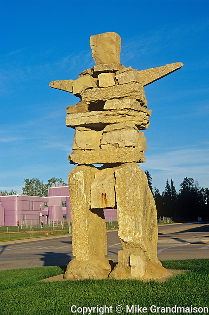 Inukshuk in the village<br /> Hay River<br /> Northwest Territories<br /> Canada
