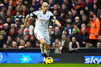 Sunday, 23 February 2014<br /> Pictured: Swansea City's Jonjo Shelvey<br /> Re: Barclay's Premier League, Liverpool FC v Swansea City FC v at Anfield Stadium, Liverpool Merseyside, UK.
