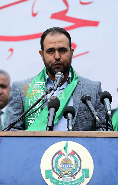 Hamas movement spokesman Hammad al-Raqab, speaks during a press conference to announce the start of the Hamas festival, in Gaza city on December 8, 2019. Photo by Mahmoud Ajjour