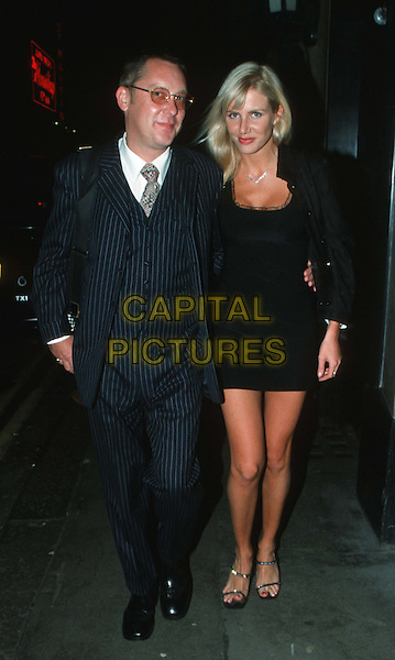 VIC REEVES & MYSTERY BLONDE..mini dress, pinstripes, full length, full-length..www.capitalpictures.com..sales@capitalpictures.com..©Capital Pictures