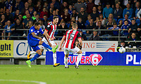 Nathaniel Mendez-Laing of Cardiff City scores his side's second goal during the Sky Bet Championship match between Cardiff City and Sheffield United at Cardiff City Stadium, Cardiff, Wales on 15 August 2017. Photo by Mark  Hawkins / PRiME Media Images.