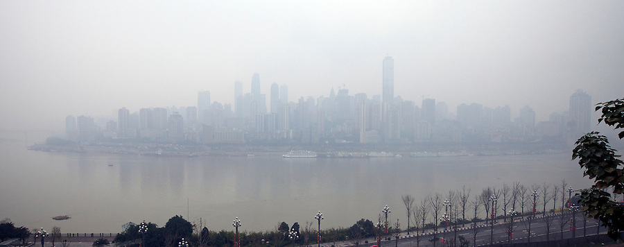 Misty View Across The Yangtze To Chongqing (Chungking) City Centre From The Residence Grounds.