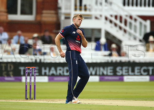 May 29th 2017, Lords, London, England, One Day International Cricket, England versus South Africa; Bowler David Willey of England reacts during his over