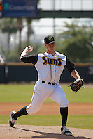 Jacksonville Suns pitcher Austin Brice (40) in action during a game against the Pensacola Blue Wahoos at Bragan Field on the Baseball Grounds of Jacksonville on May 11, 2015 in Jacksonville, Florida. Jacksonville defeated Pensacola 5-4. (Robert Gurganus/Four Seam Images)