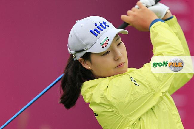 In Gee Chun (KOR) on the 1st tee to start her match during Saturday's Round 3 of The 2016 Evian Championship held at Evian Resort Golf Club, Evian-les-Bains, France. 17th September 2016.<br /> Picture: Eoin Clarke | Golffile<br /> <br /> <br /> All photos usage must carry mandatory copyright credit (&copy; Golffile | Eoin Clarke)