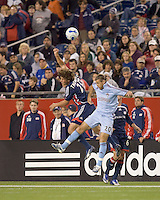 New England Revolution midfielder Wells Thompson (27) and Colorado Rapids forward Nicolas Hernandez (20) battle for a head ball. The New England Revolution defeated the Colorado Rapids, 1-0, at Gillette Stadium in Foxboro, MA on September 29, 2007.