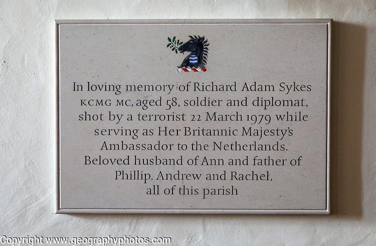 Memorial to Richard Adam Sykes in village parish church of Saint Michael, Wilsford cum Lake, Wiltshire, England, UK
