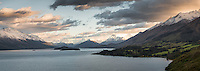 Lake Wakatipu at sunrise with surrounding mountains, Central Otago, New Zealand