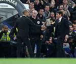 Chelsea's Antonio Conte shakes hands with Manchester City's Pep Guardiola during the Premier League match at the Stamford Bridge Stadium, London. Picture date: April 5th, 2017. Pic credit should read: David Klein/Sportimage