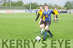 In Action Inter's Shannon Ryan and Rover's Martin O'Connor in the  Denny Premier B League Final Inter Kenmare Vs Rattoo Rovers at Mounthawk Park on Sunday