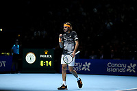 17th November 2019; 02 Arena. London, England; Nitto ATP Tennis Finals; Stefanos Tsitsipas (Greece) celebrates a point in his match with Dominic Thiem (Austria) during the mens singles final - Editorial Use