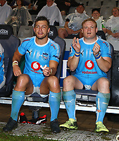 DURBAN, SOUTH AFRICA - APRIL 14: Handre Pollard of the Vodacom Blue Bulls with Adriaan Strauss of the Vodacom Blue Bulls during the Super Rugby match between Cell C Sharks and Vodacom Bulls at Jonsson Kings Park Stadium on April 14, 2018 in Durban, South Africa. Photo: Steve Haag / stevehaagsports.com