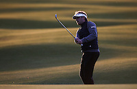 Victor Dubuisson (FRA) playing up to the last in the evening light during the practice round before the 2014 Alfred Dunhill Links Championship, The Old Course, St Andrews, Fife, Scotland. Picture:  David Lloyd / www.golffile.ie