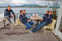 Swiss, Genève, September 14, 2015, Tennis,   Davis Cup, Swiss-Netherlands, Dutch team on a boat trip on lake Geneve, ltr: Tallon Griekspoor,  Jesse Huta Galung, Tim van Rijthoven ,  Matwe Midelkoop and Thiemo de Bakker,<br />