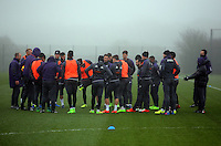 Players gather for a briefing during the Swansea City Training at The Fairwood Training Ground, Swansea, Wales, UK. Wednesday 22 February 2017