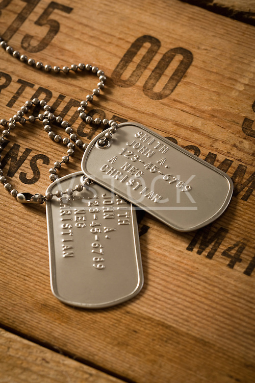 Studio shot of military dog tags