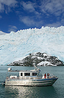Weather Permitting charter boat Weather or Knot in front of Aialik Glacier, Aialik Bay, Kenai Fjords National Park, Alaska