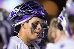 Asher Nolting (32) of the High Point Panthers listens to his coach during a first half timeout in the game against the Virginia Cavaliers at Vert Track, Soccer & Lacrosse Stadium on February 20, 2018 in High Point, North Carolina.  The Cavaliers defeated the Panthers 18-12.  (Brian Westerholt/Sports On Film)