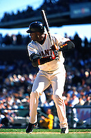 SAN FRANCISCO, CA - Barry Bonds of the San Francisco Giants bats during a game at AT&T Park in San Francisco, California on April 22, 2001. Photo by Brad Mangin
