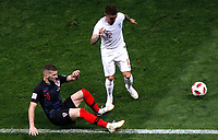 MOSCU - RUSIA, 11-07-2018: Ante REBIC (Der) jugador de Croacia disputa el balón con Kieran TRIPPIER (Izq) jugador de Inglaterra durante partido de Semifinales por la Copa Mundial de la FIFA Rusia 2018 jugado en el estadio Luzhnikí en Moscú, Rusia. / Ante REBIC (R) player of Croatia fights the ball with Kieran TRIPPIER (L) player of England during match of Semi-finals for the FIFA World Cup Russia 2018 played at Luzhniki Stadium in Moscow, Russia. Photo: VizzorImage / Julian Medina / Cont