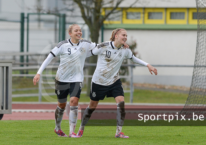 20150404 - FORST , GERMANY  : German Laura Freigang (10)  pictured celebarting her goal for Germany with teammate Nina Ehegotz (9) during the soccer match between Women Under 19 teams of Germany and Scotland , on the first matchday in group 5 of the UEFA Elite Round Women Under 19 at WaldseeStadion , Forst , Germany . Saturday 4th April 2015 . PHOTO DAVID CATRY