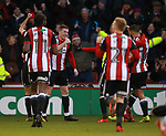 John Lundstram of Sheffield Utd celebrates scoring the first goal during the Championship match at Bramall Lane Stadium, Sheffield. Picture date 26th December 2017. Picture credit should read: Simon Bellis/Sportimage