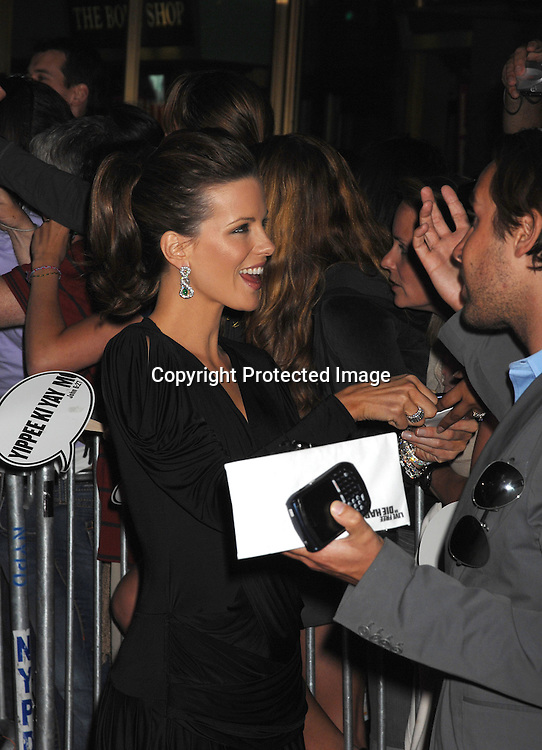 "Kate Beckinsale..arriving at The ""Live Free or Die Hard "" movie premiere on June 22, 2007 at Radio City Music Hall in New York. ..Robin Platzer, Twin Images....212-935-0770"