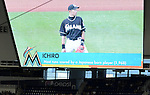 Ichiro Suzuki (Marlins), APRIL 25, 2015 - MLB : Ichiro Suzuki of the Miami Marlins is shown on the screen in the ninth inning after setting the record for the most runs scored by a Japanese born player in the eighth inning during the Major League Baseball game against the Washington Nationals at Marlins Park in Miami, Florida, United States. (Photo by AFLO)