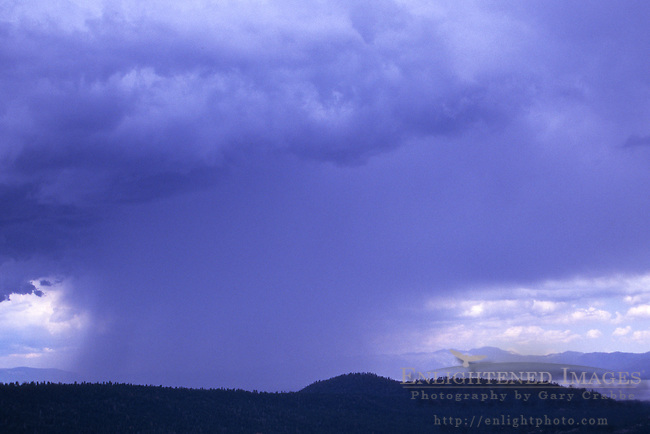 Summer thunderstorm clouds and rain in the mountains near Lake Tahoe, California