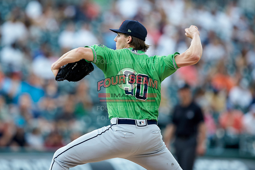Gwinnett Braves starting pitcher Kyle Wright (30) in action against the Charlotte Knights at BB&T BallPark on July 12, 2019 in Charlotte, North Carolina. The Stripers defeated the Knights 9-3. (Brian Westerholt/Four Seam Images)