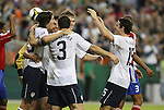 11 October 2008: Brian Ching (USA) (2nd from left) is congratulated by teammates Sacha Kljestan (USA) (left), Carlos Bocanegra (USA) (3), Michael Bradley (USA), and Heath Pearce (USA) (15) after scoring a goal. The United States Men's National Team defeated Cuba Men's National Team 6-1 at RFK Stadium in Washington, DC in a CONCACAF semifinal round FIFA 2010 South Africa World Cup Qualifier.