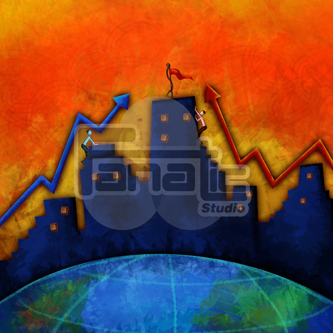 Businessmen climbing office building representing business race