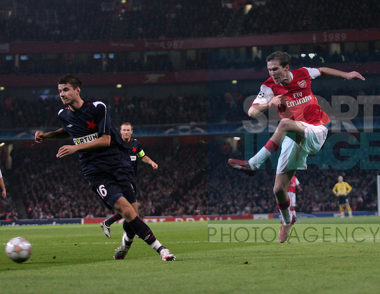 Arsenal's Alexander Hleb scoring his sides second goal