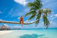 Maldives, Rangali Island. Conrad Hilton Resort. Woman in a palm tree over the ocean. (MR)