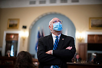 Dr. Robert Redfield, Director of the Centers for Disease Control and Prevention , watches a video monitor before a US House Appropriations Subcommittee hearing on Capitol Hill in Washington, D.C., U.S., on Thursday, June 4, 2020. <br /> Credit: Al Drago / Pool via CNP/AdMedia